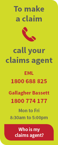 To make a claim call your claims agent EML 1800 688 825 Gallagher Bassett 1800 774 177 Mon to Fri 8:30am to 5:00pm
